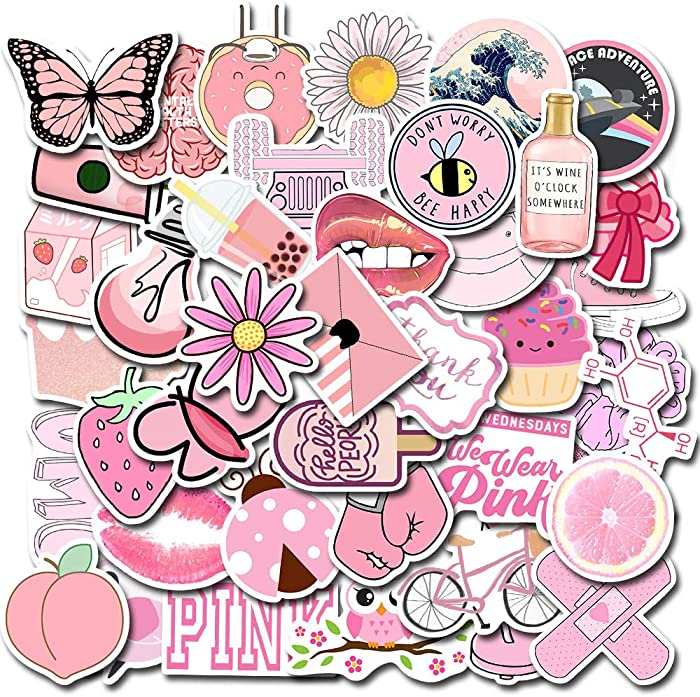 MSOLE 50PCS Cute Waterproof Vsco Stickers for Water Bottles Laptop HydroFlasks Aesthetic Trendy Decal Stickers for Mac Computer Phone Guitar for Kids Teens Girls (Pink)