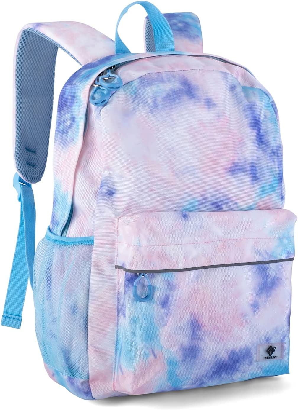 Kids Backpack for Girls, Boys, Teens by Fenrici, Recycled School Bag with Laptop Compartment, 16 in x 13.5 in (Pink Tie Dye)