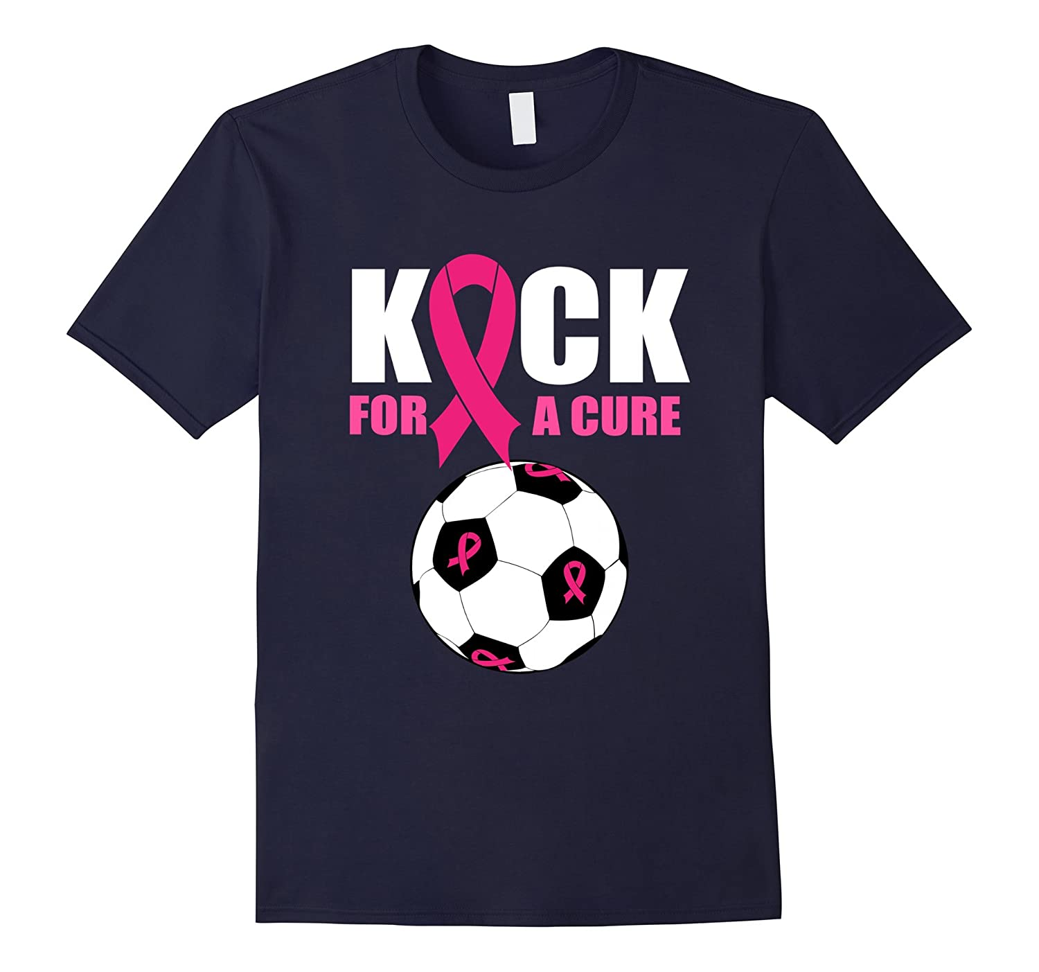 Breast Cancer Awareness Soccer Ball Pink Ribbon Team Shirt-RT