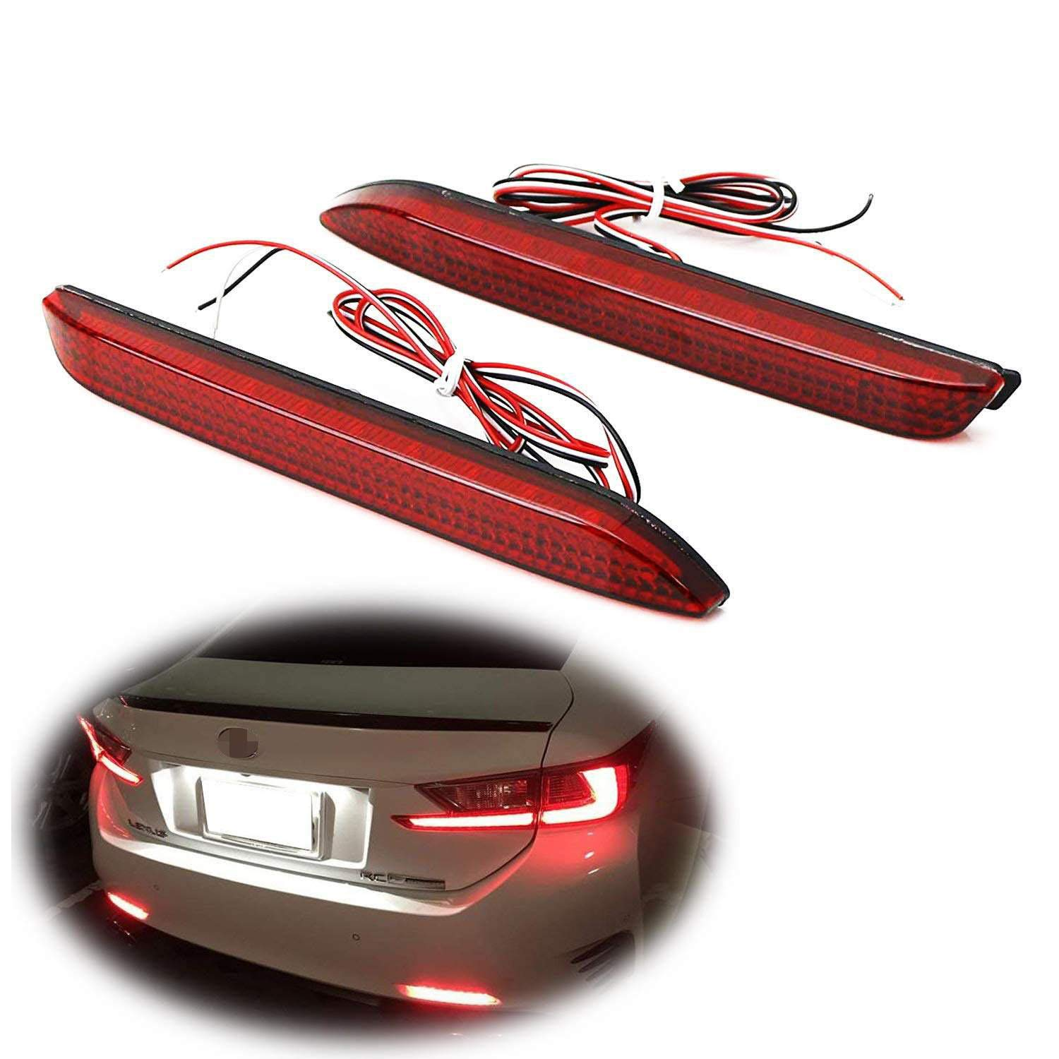 iJDMTOY Red Lens 42-SMD LED Bumper Reflector Lights for Lexus RC NX is-F GX etc. Function as Tail, Brake & Rear Fog Lamps
