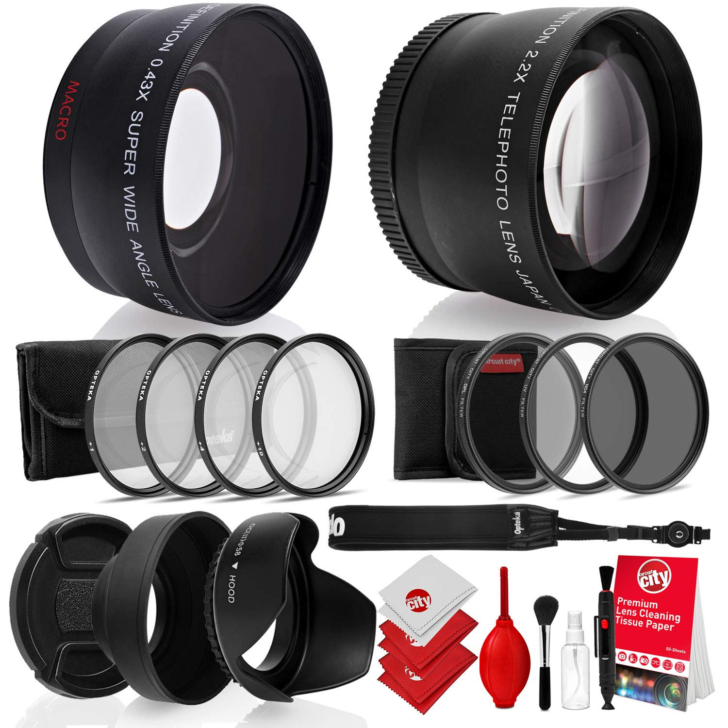 Opteka 52mm 0.43X HD Wide Angle Lens with Macro for Nikon DSLR Bundle with Opteka 52mm 2.2X HD Telephoto Lens and Essential Accessories (8 Items) by Opteka