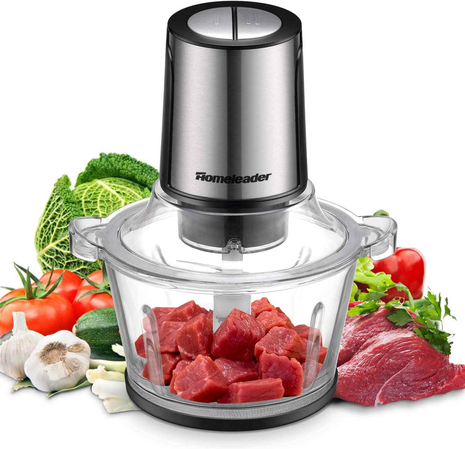 Electric Food Chopper, 8-Cup Food Processor by Homeleader, 2L BPA-Free Glass Bowl Blender Grinder for Meat, Vegetables, Fruits and Nuts, Fast & Slow 2 Speeds, 400W