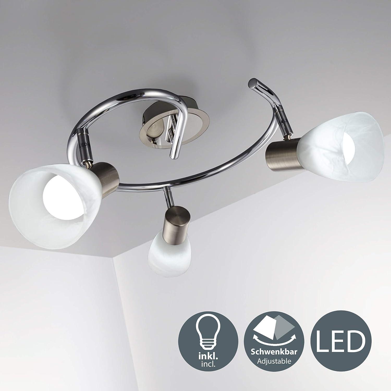 LED Spot Balken Decken Lampe Glas satiniert Strahler Leuchte silber schwenkbar