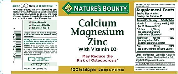 Amazon Com Nature S Bounty Calcium Magnesiuim Zinc Health