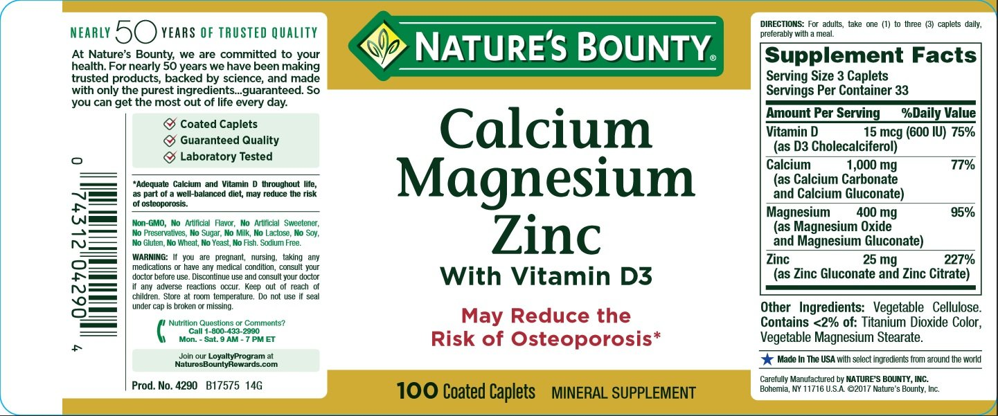 Nature's Bounty Calcium Carbonate Pills with Magnesium and Zinc Mineral Supplement, Supports Bone Strength and Health, 1000mg, 100 Caplets by Nature's Bounty (Image #5)