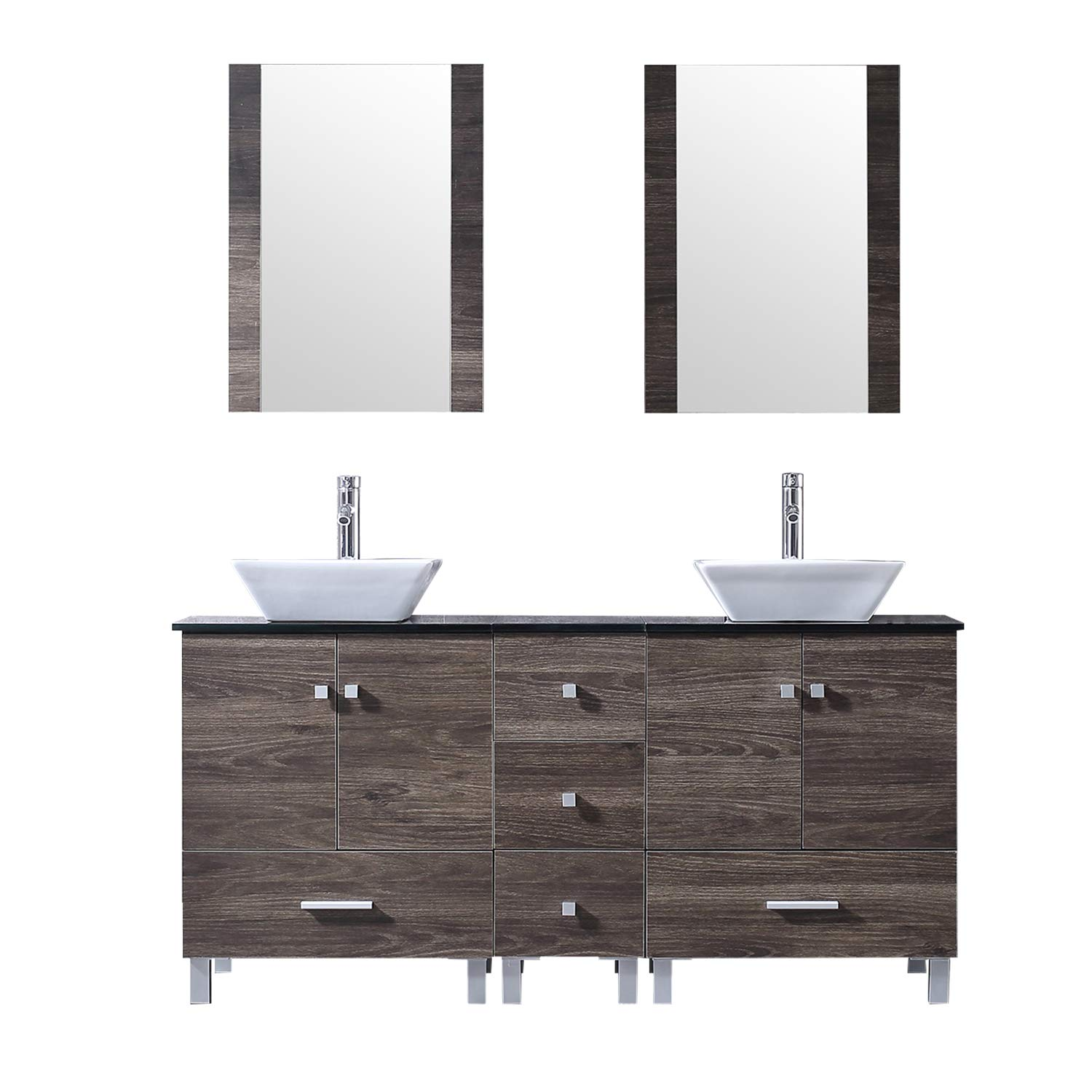 BATHJOY 60 Double PLY Wood Bathroom Vanity Cabinet and Square Ceramic Vessel Sink w Mirror Faucet Combo