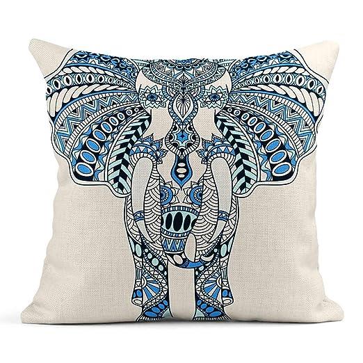 Kinhevao Cojín Marrón Mandala Azul Tatuaje Doodle Decorado ...