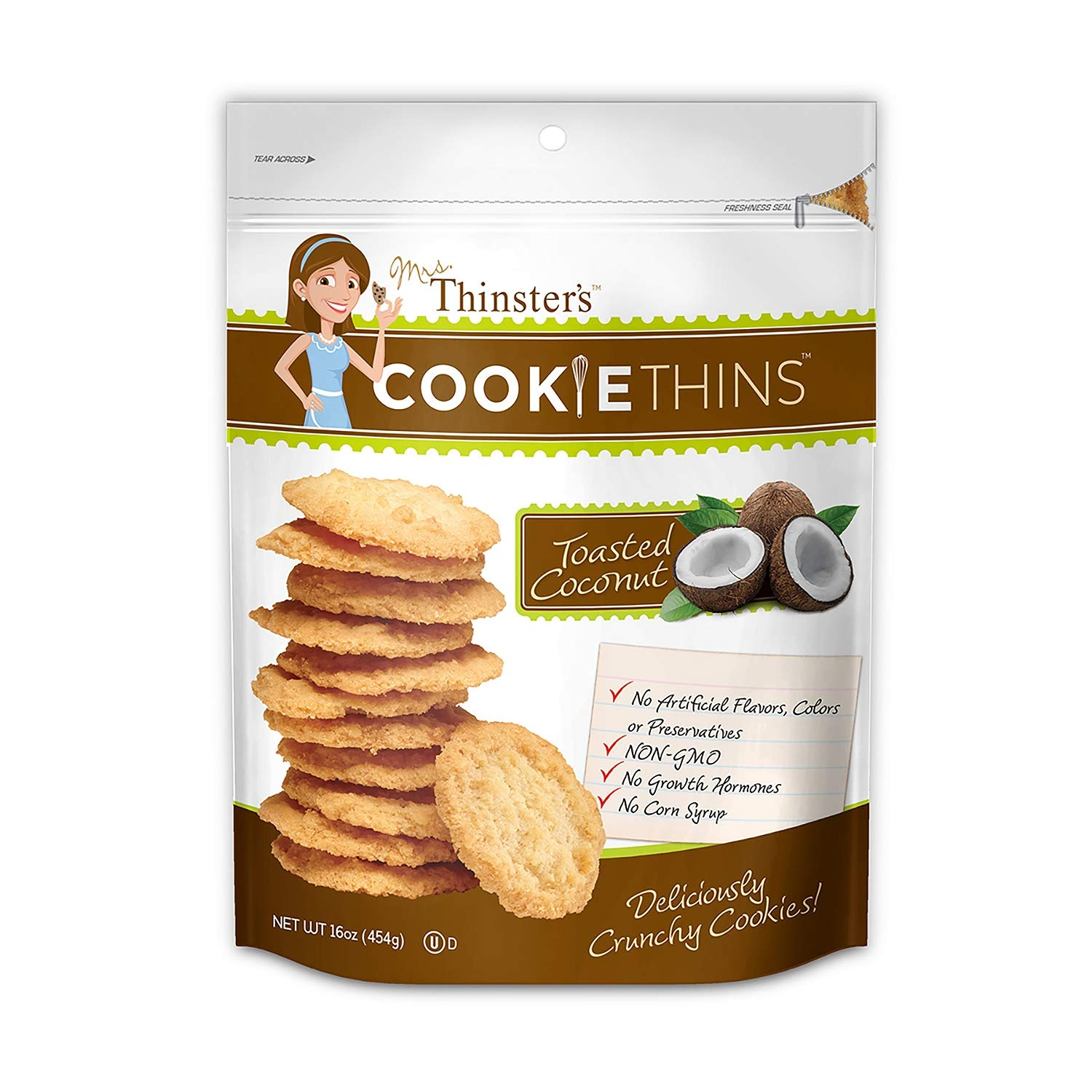 Mrs. Thinster's TOASTED COCONUT Cookie Thins - Great Size 2 Pack (Total 32 Oz )