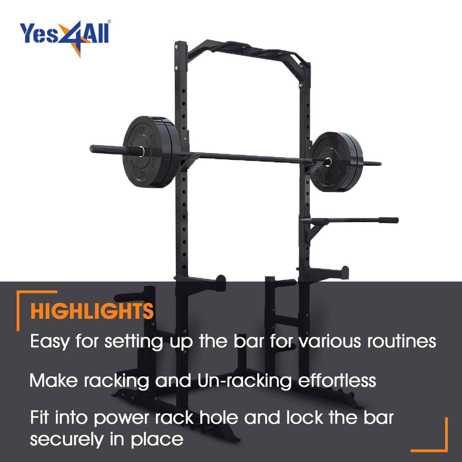 Yes4All J-Hooks Barbell Holder for Power Rack - Fit 2x2, 2x3, 3x3 Square Tube (Pair) (Black - J-Hook 2x3) by Yes4All (Image #5)