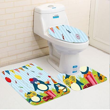 Keshia dwete tres piezas para inodoro asiento Pad custombirthday para niños Cartoon Party de pingüino con