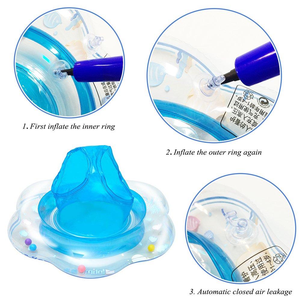 KimKo Inflable Beb/é Asiento Hinchable Anillo de Nataci/ón para 1-3 A/ños de Edad Verde Flotador para beb/é con asiento