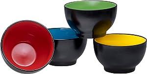 Bruntmor Ceramic Dessert Bowls Set – 20 Oz Durable Non-toxic Ceramic Bowls set of 4, Elegant Multi-colored Variation for Rice, Ice-cream, Salad, and Cereal