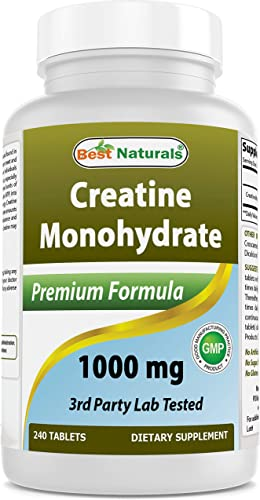 BEST NATURALS Creatine Monohydrate 1000 mg 240 Tablets, 0.02 Pound