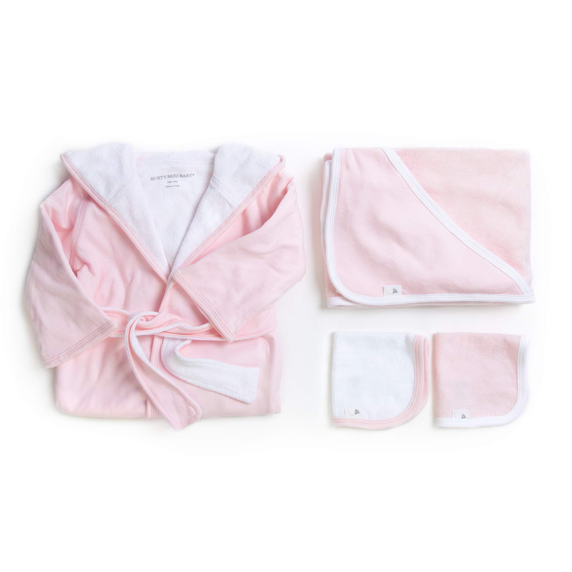Burt's Bees Baby - Bathtime Gift Bundle - Includes Bathrobe, Hooded Towel & Washcloths, 100% Organic Cotton (Blossom Pink)