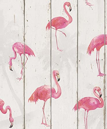 Flamingo Wood Panel Wallpaper Pink Amazon Co Uk Diy Tools