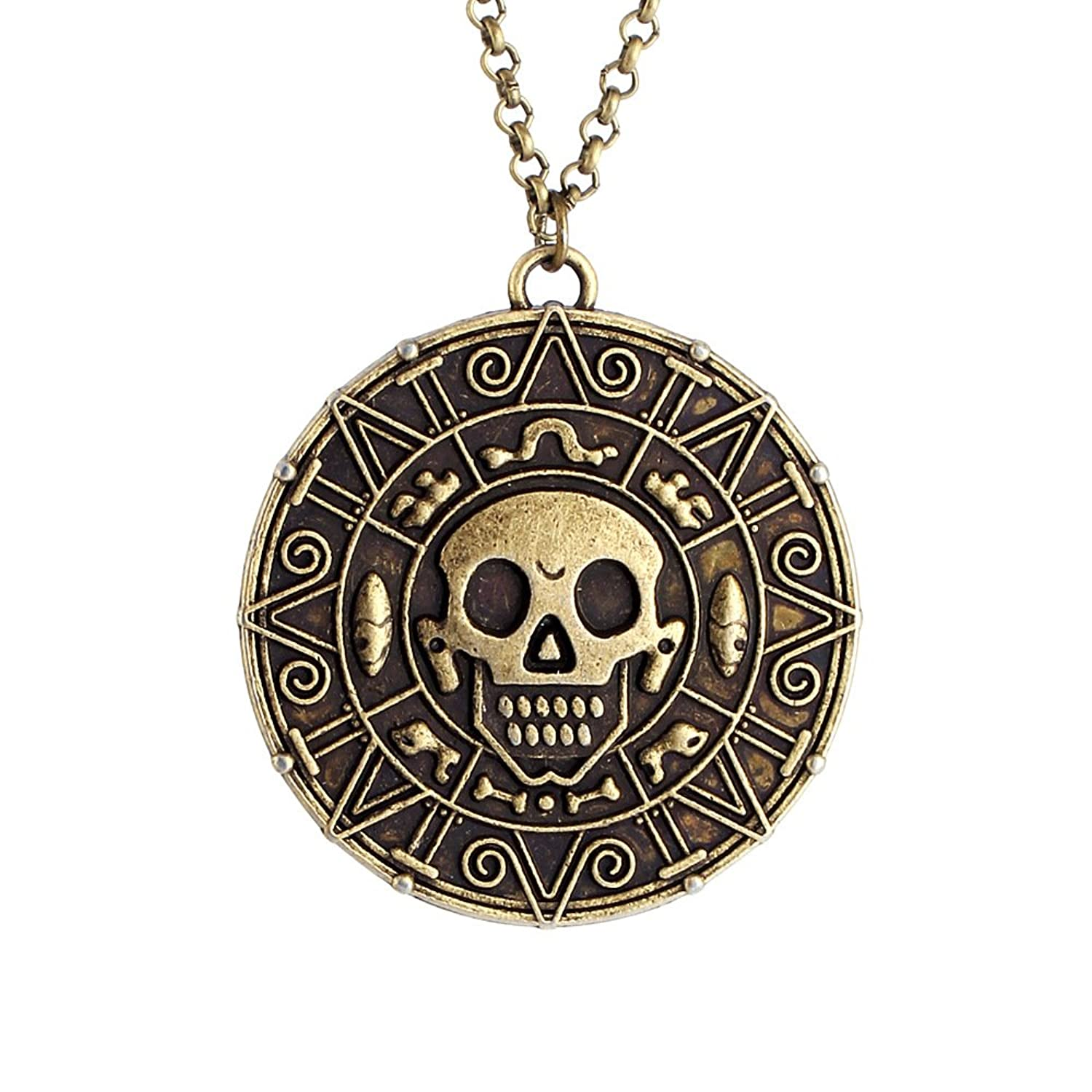 Deluxe Adult Costumes - Men's Antique bronze Aztec coin medallion skull necklace
