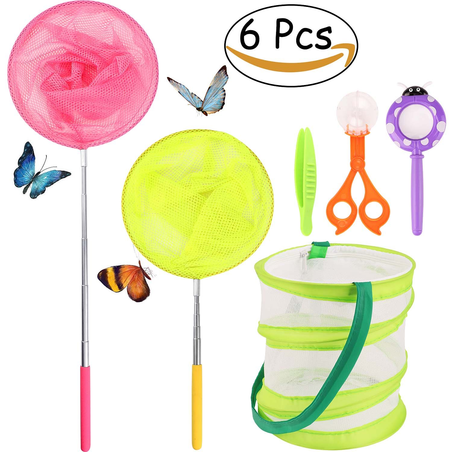 JoyJon Telescopic Butterfly Net Kit for Kids 6 Pack Bug Perfect for Patio Outdoor Travel Activities Insect Catching Nets Extendable 34'' Inch Pop Up Butterfly Mesh Cage