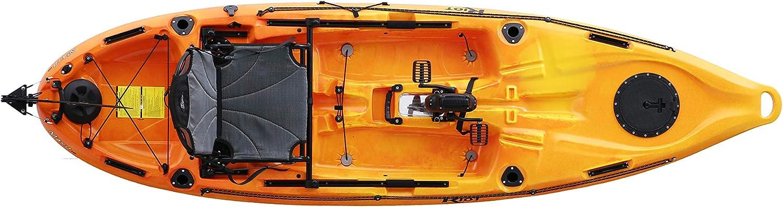Riot Mako Kayak de 10 pies con pedal de impulso, Deluxe, amarillo/naranja: Amazon.es: Deportes y aire libre