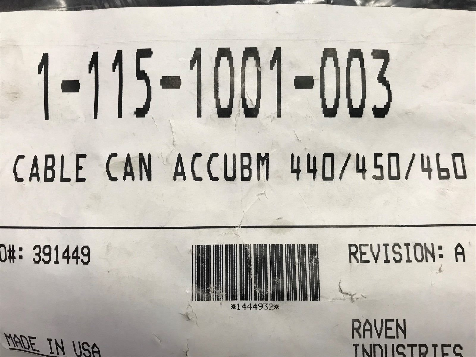 115-1001-003 RAVEN CABLE CAN ACCUBOOM 440/450/460