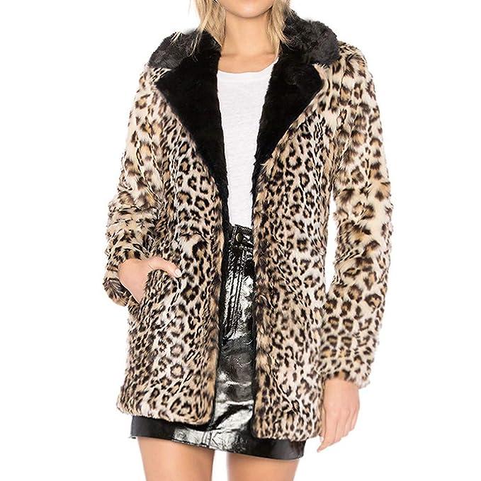 Linlink Abrigo de Mujer LiquidacióN Temporada De OtoñO E Invierno Leopardo Caliente De Lana Artificial Outwear De Solapa Chaqueta De Invierno Parka Outcoat: ...