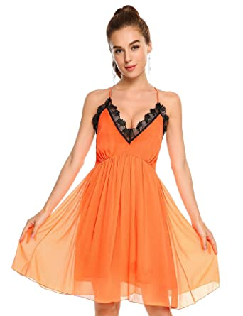 Corgy Black White Orange A Line Lace Dressed For Women