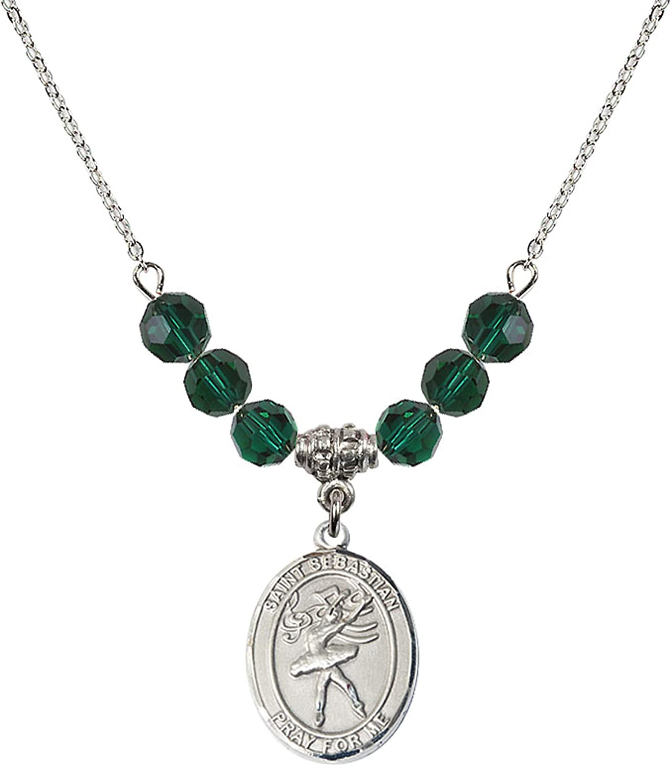 Bonyak Jewelry 18 Inch Rhodium Plated Necklace w// 6mm Green May Birth Month Stone Beads and Saint Sebastian//Dance Charm