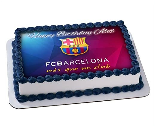 FC Barcelona Birthday Cake Personalized Cake Toppers Edible Frosting