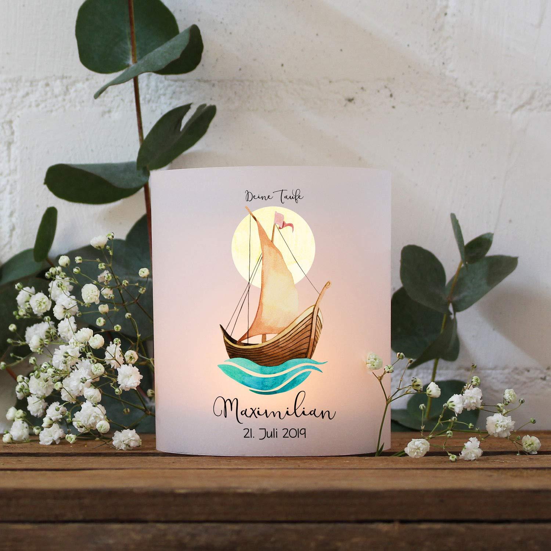 Taufkerze* ilka parey wandtattoo-welt Taufkerze Kerze zur Taufe Segelboot Schiff mit Sonne Wunschname Spruch individualisierbar wk146 ausgew/ählte Gr/ö/ße *1