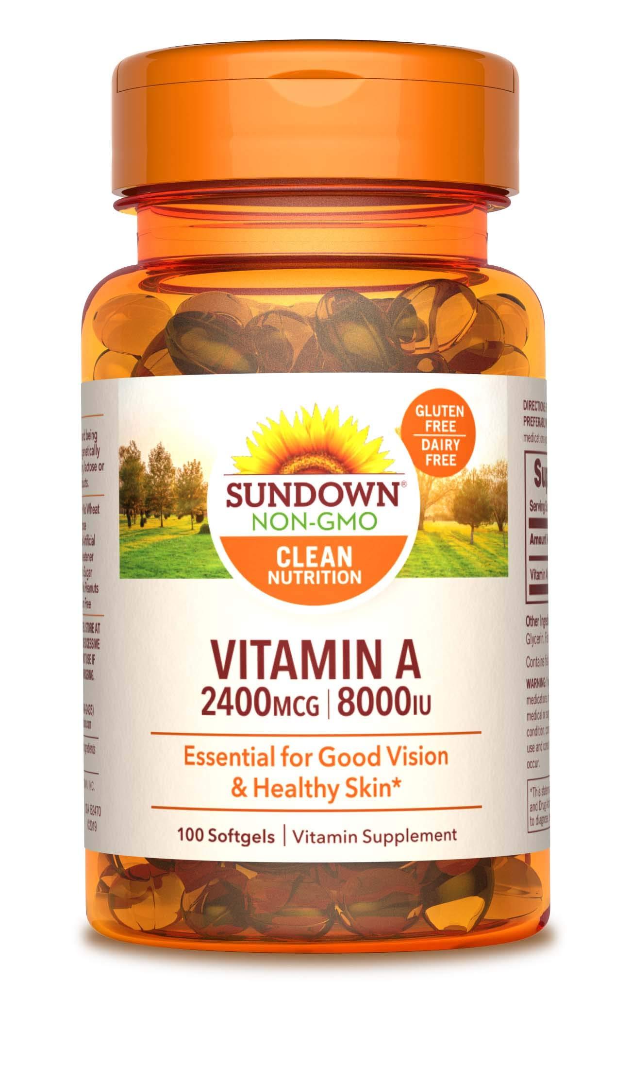 Sundown A 2400 Mcg 8000 Iu Softgels, 100 Count (Packaging May Vary)