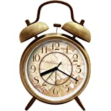 """ANG 4"""" Silent Quartz Analog Quiet Non-ticking Retro Vintage Classic Bedside Twin Bell Alarm Clock Wind-Up Clock with Loud Alarm and Nightlight"""