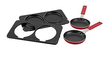 Jata AC266 Accesorio Dos sartenes y Placas para el Grill, 0 W, Metal, Negro y rojo