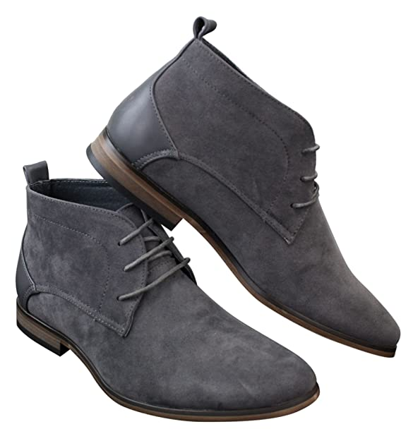 Mens Suede Desert Ankle Red Grey Brown Blue Boots Shoes Smart Casual  Leather Laced: Amazon.co.uk: Shoes & Bags