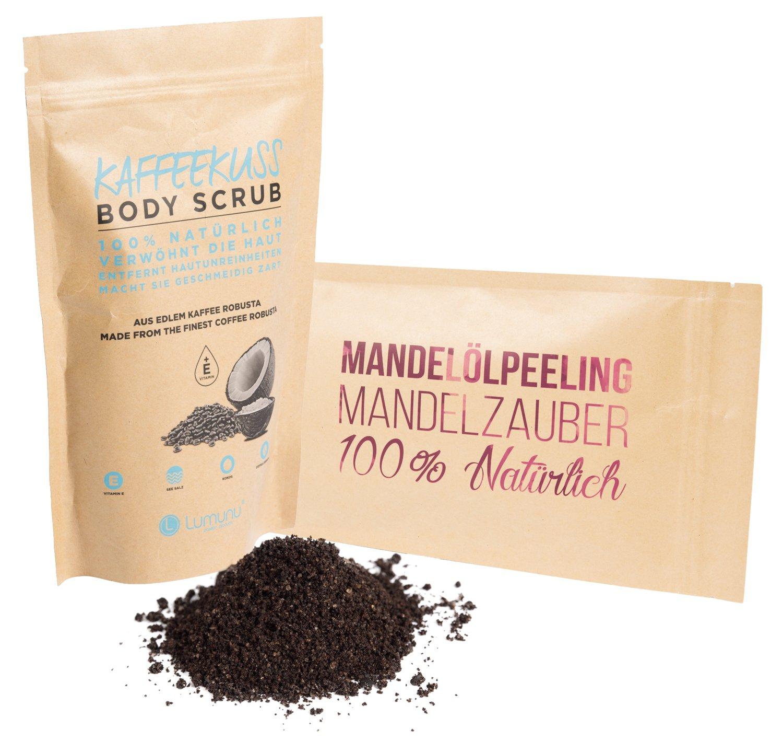 Deluxe Wellness Peeling Set bestehend aus Mandelölpeeling Mandelzauber (250g) & Kaffeepeeling Kaffeekuss (250g), Scrub für Körper und Gesicht 100% Natürlich, Pflege Geschenkset Lumunu passion products