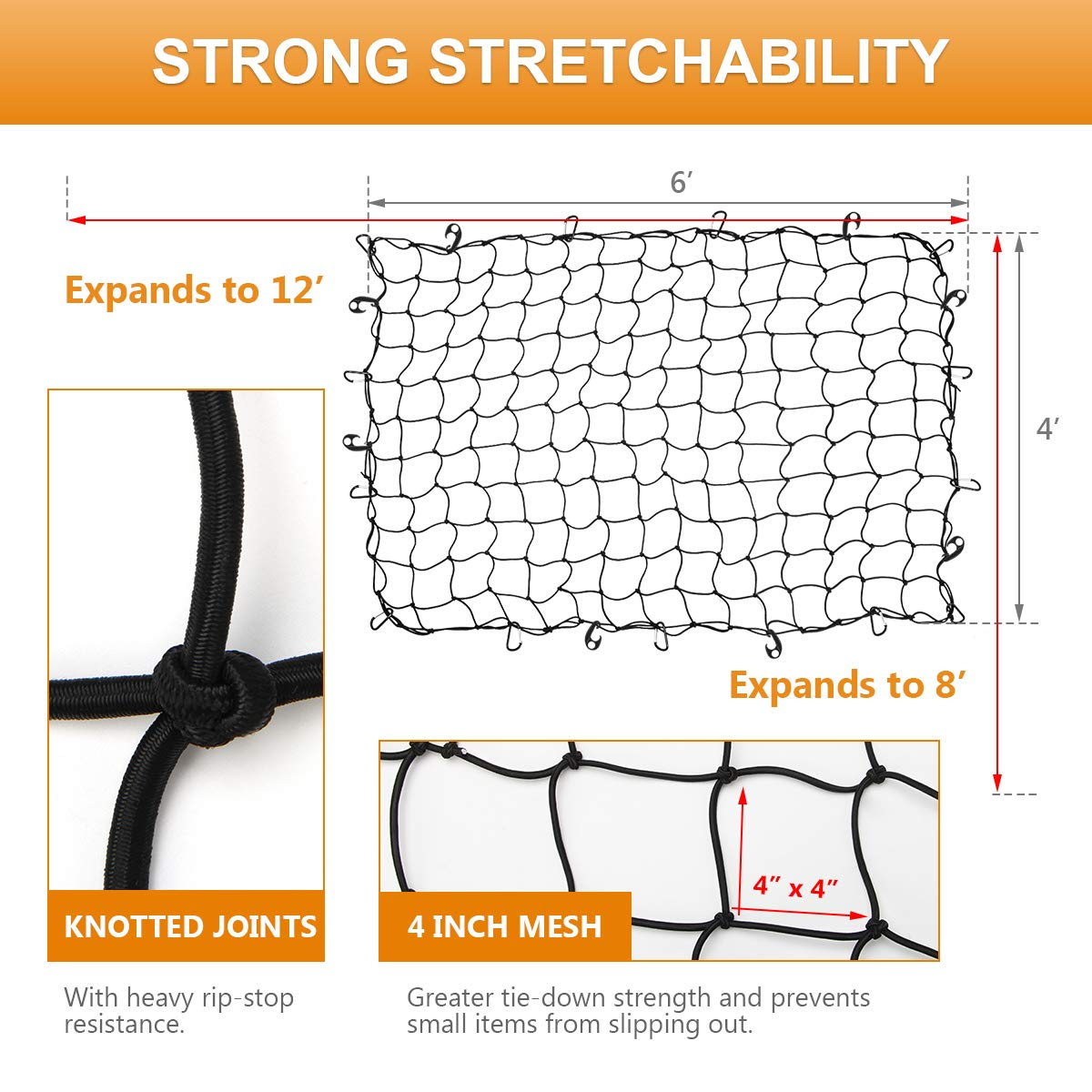 Coolrunner 4x6 Bungee Cargo Net for Truck Bed Stretches to 8x12 Heavy Duty Cargo Netting with Small 4x4 Mesh Tangle-Free 12 Clip Carabiner /& 12 Pcs Hooks for SUV,ATV//UTV,RV,Pickup Pickup Bed,Tr