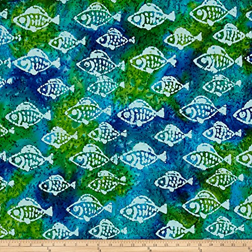 - Textile Creations Indian Batik Small Fish Aqua/Lima Fabric by The Yard