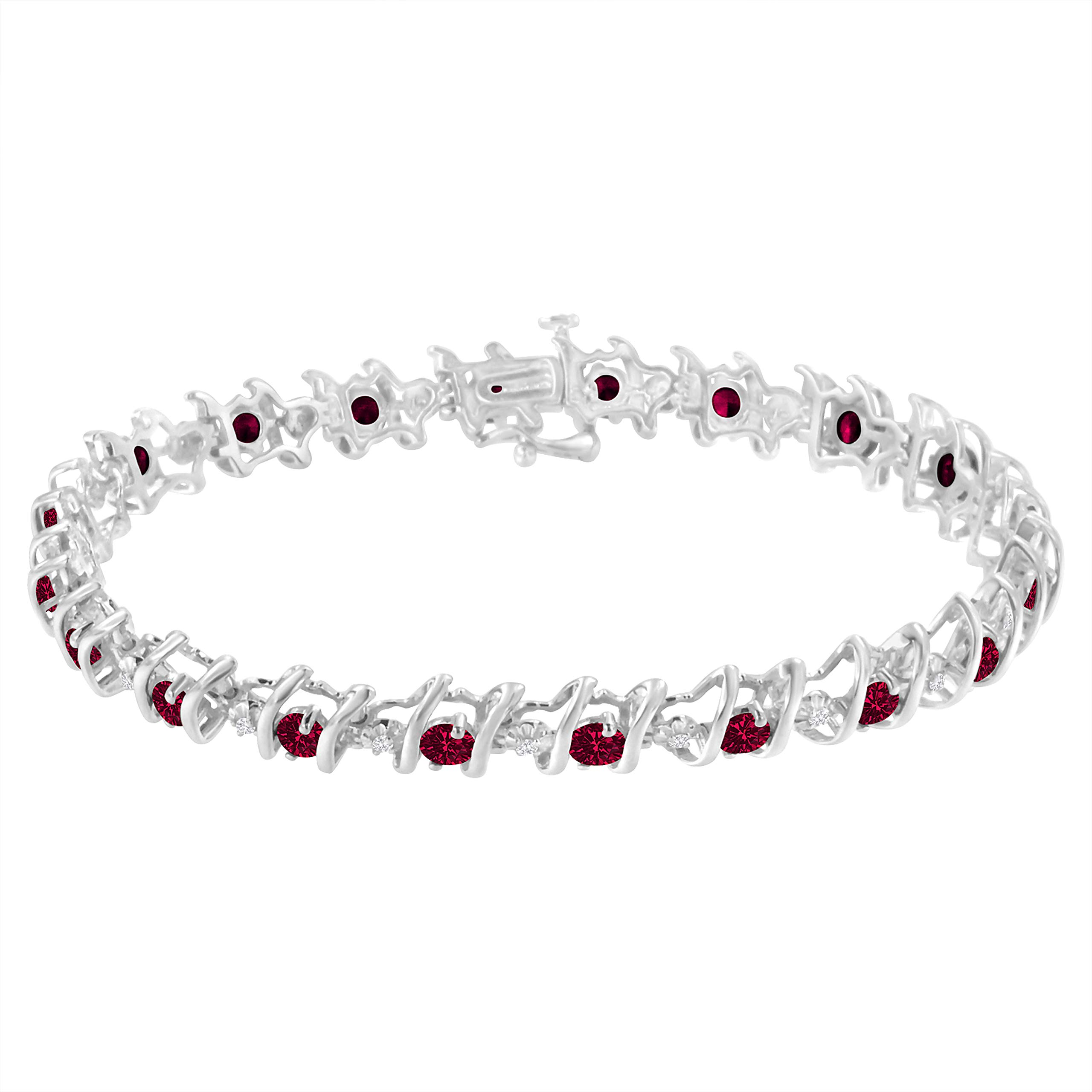 Original Classics Sterling Silver Lab Created Ruby and Diamond S-Link Tennis Bracelet (H-I, I1-I2) by Original Classics (Image #2)