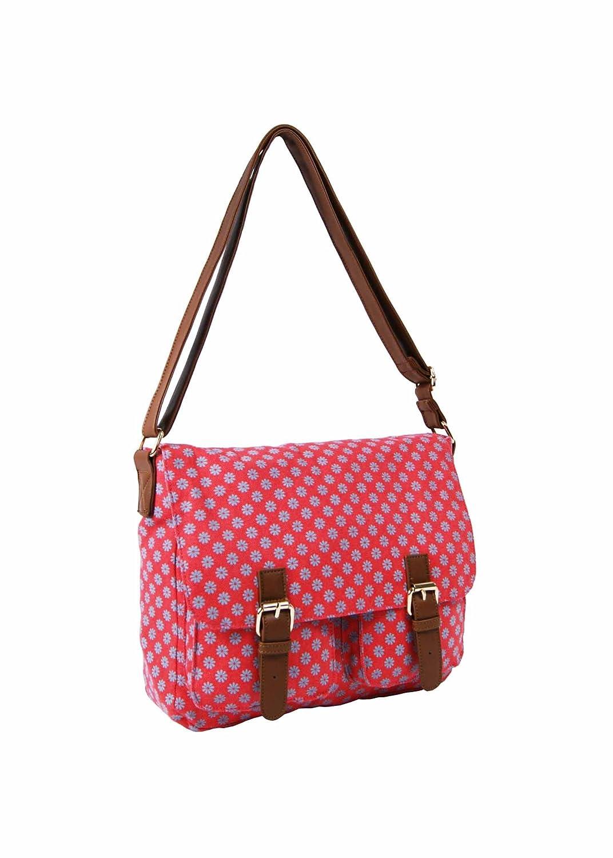 Ladies Girls Fashion Canvas Satchel/Messenger Cross-body Bag School College Uni Travel Casual Bag (Polkadot Fuchsia)