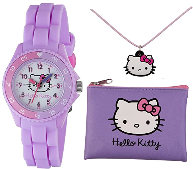 Juego de Hello Kitty con reloj, cartera y collar, en color lila: Amazon.es: Relojes