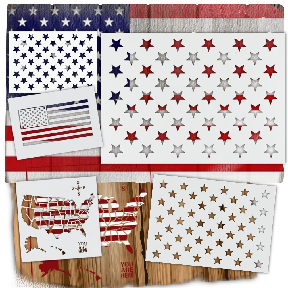 Sticro 5 Pieces American Flag 50 Stars Stencil & United States Map Template for Painting on Fabric, Airbrush, Wood, Walls Reusable Starfield Mylar Template with Multiple Size Changlian 4336946539