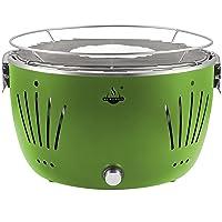 El Fuego rauchfreier Holzkohlegrill Tulsa grün 342 x 342 x 215 cm AY5254 ✔ rund ✔ tragbar rauchfrei ✔ Grillen mit Holzkohle ✔ für den Tisch