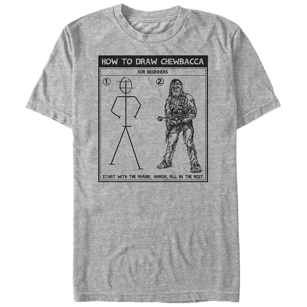 Star Wars Mens Draw Chewy Graphic T-Shirt Fifth Sun STRW2208-10001006