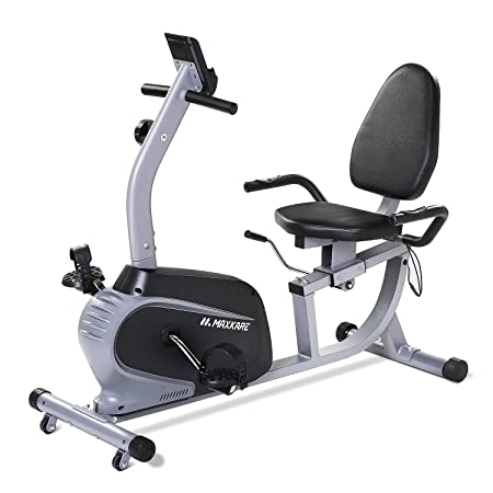 MaxKare Recumbent Exercise Bike Indoor Cycling Stationary Bike with Adjustable Seat and Resistance, Pulse Monitor Phone Holder Seat Height Adjustment by Lever