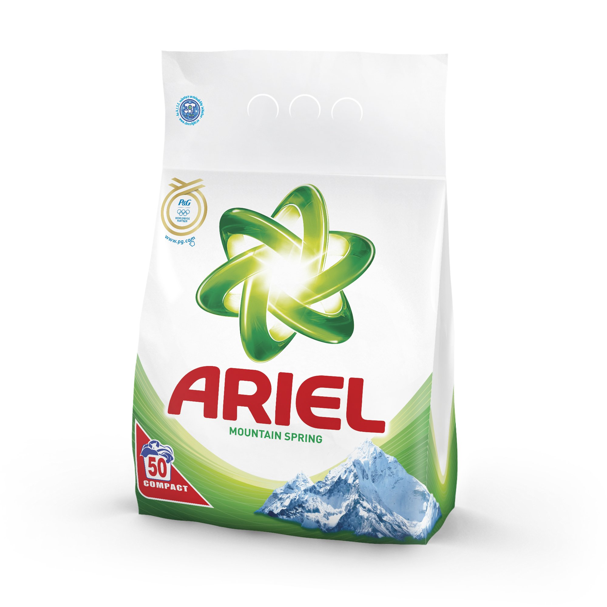Ariel Compact H.E. Laundry Detergent Powder, Mountain Spring [Authentic European] - 150 Wash Loads (3 x 3.5kg Compact)