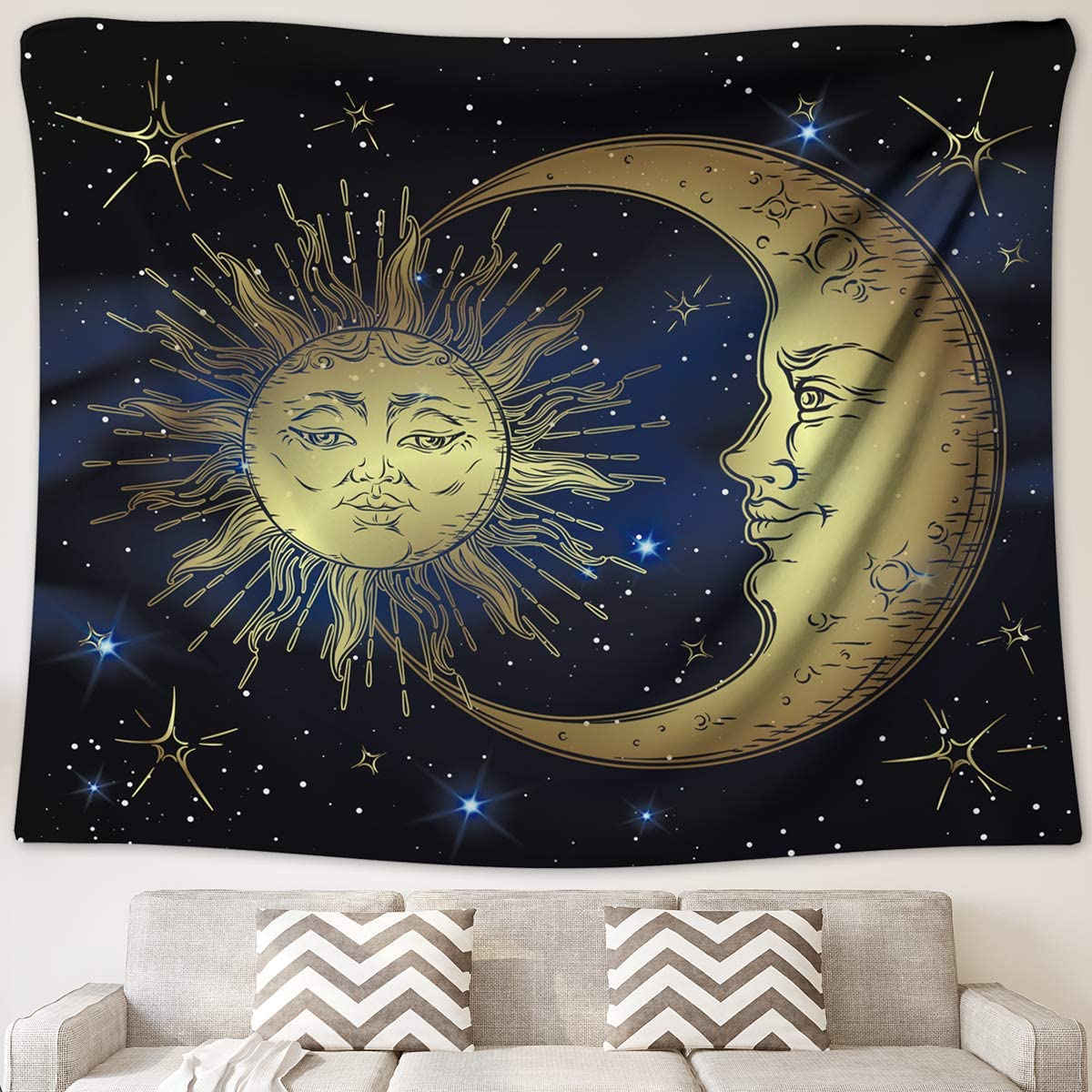 Angeloken Bohemian Design Modern Chic Decor Tapestry,Art Golden Sun Moon and Stars Sky Wall Hanging.(50 Inches X 60 Inches)