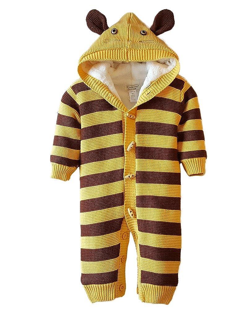 Minetom Bebé Niños Niñas Infantil Buzos Equipar Recién Nacido Otoño Invierno Espesar Gato Mameluco con Botón De Cuerno Peleles Pijamas QL170831GR-DE02