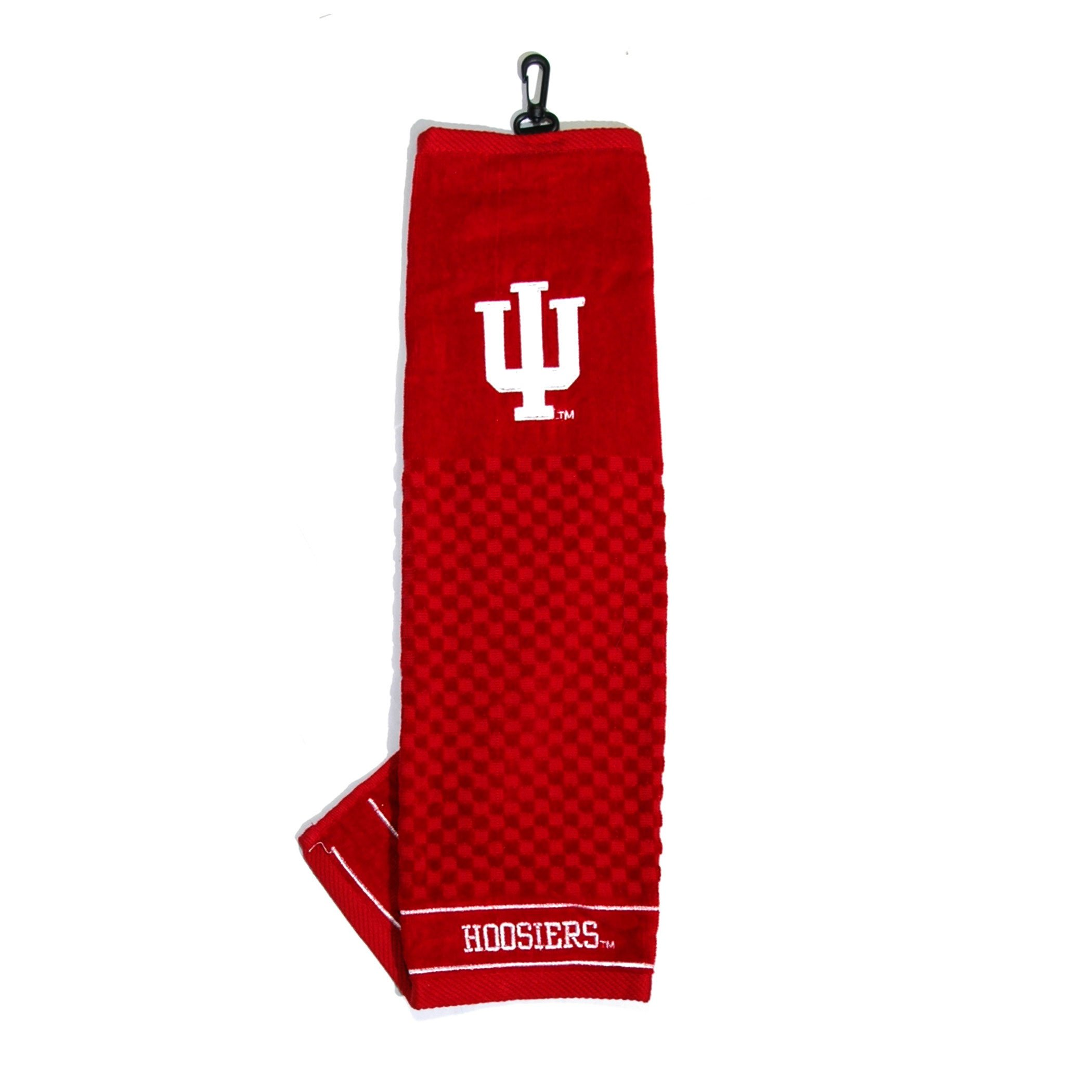 Team Golf NCAA Indiana Hoosiers Embroidered Golf Towel, Checkered Scrubber Design, Embroidered Logo