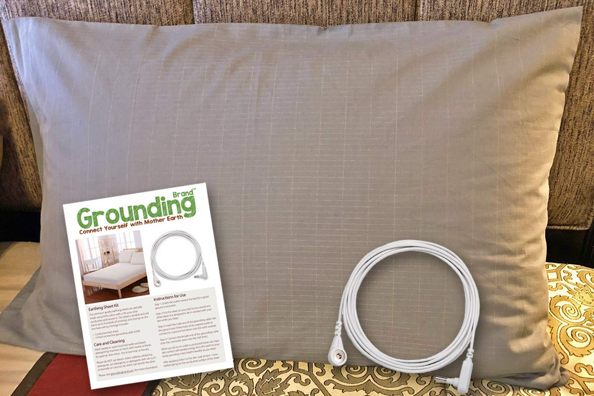 Grounding Brand Earthing Pillow Case King Size Connection Cord - 400TC Natural Cotton Pure Silver Conductive Thread Better Sleep, Wellness Healthy Earth Energy, Grey