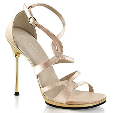08c6f611bc4d Summitfashions Women Posh Nude Satin Strappy Sandal Heels Dress Shoes 4.5    Gold Chrome Heels