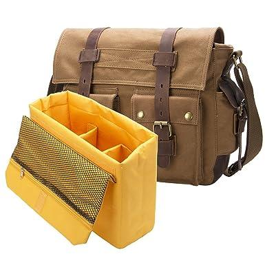 Peacechaos waterproof Canvas Casual Shoulder Messenger Bag Outdoor Travel  Photography Bag Crazy Horsehide Dslr Slr Camera b137eafa74