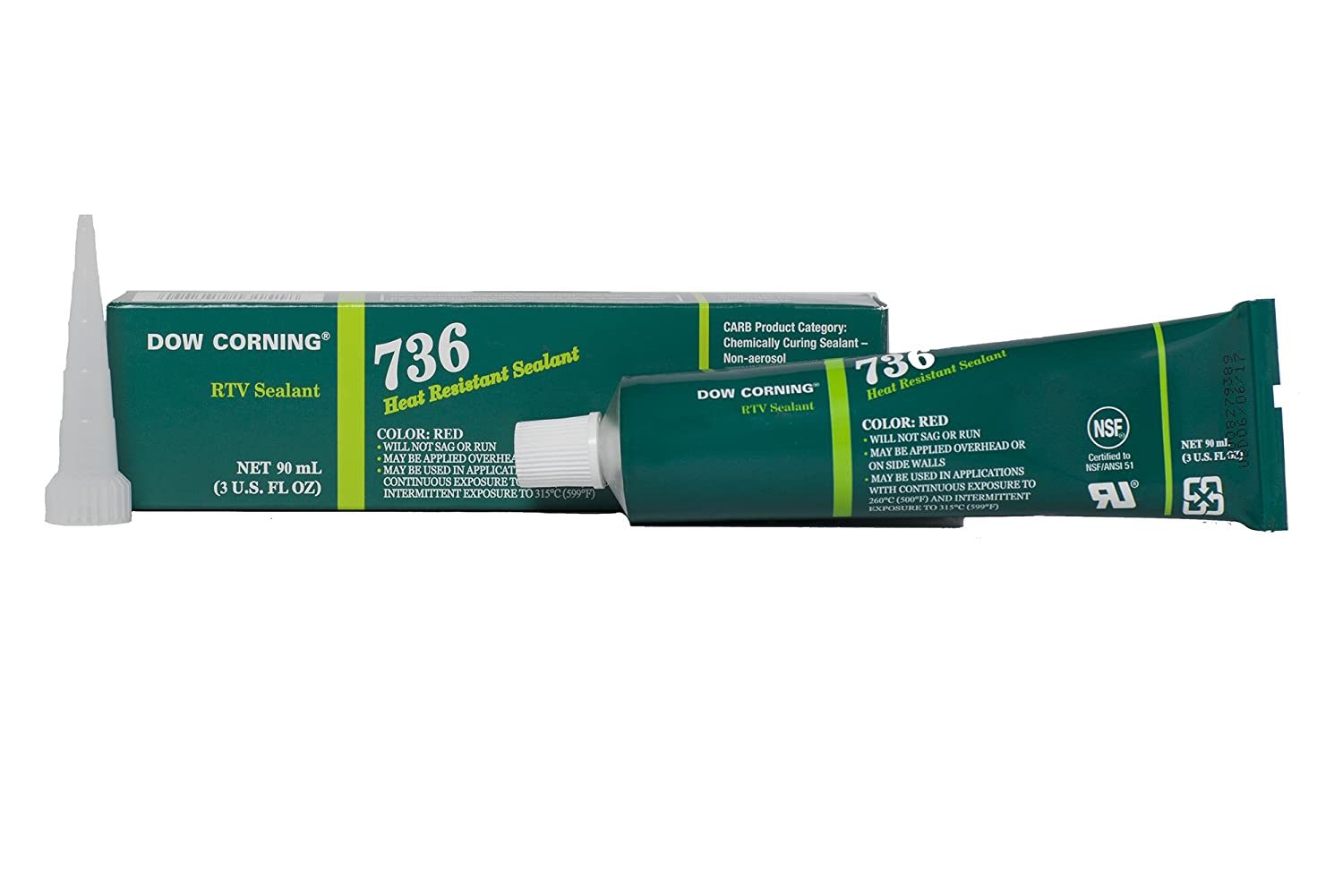 Dow Corning 2423472 736 Red Heat Resistant Sealant, -65 to 260 Degree C, 90 mL